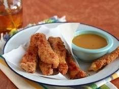 Baked Chicken Fingers with Honey Mustard Dipping Sauce. For more creative ideas for kids lunches LIKE US on Facebook @ https://www.facebook.com/SchoolLunchIdeas