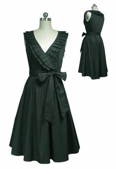 Black Ruffle Neckline Wrap Dress