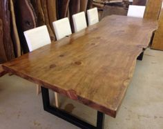 Live Edge Dining Table  Redwood Dining Table  Wood by UrbanWoodLLC