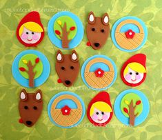 LITTLE Red RIDING HOOD Fondant Cupcake Toppers by SWEETandEDIBLE