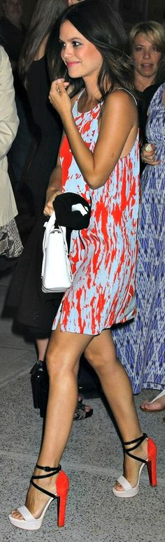 love the print and colors of the dress. and the SHOES (I think they're Louboutins)