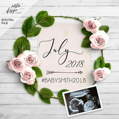 spring PERSONALIZED digital pregnancy announcement for social media custom baby announcement gender - Apfelmus Joghurt Gugelhupf