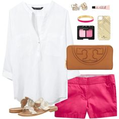 """pink & gold"" by classically-preppy on Polyvore white blouse j. crew shorts hot pink"