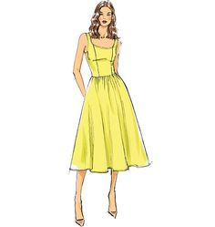 Need the perfect dress for summer? Try Vogue Patterns V9100, Misses' Dress, with a slim bodice and full skirt.
