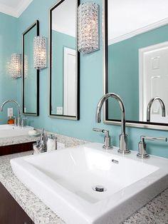 Bold Blue Master Bathroom