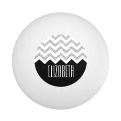 Black and Silver Glitter Print Chevrons and Name Ping Pong Ball - tap/click to personalize and buy #PingPongBall  #girly #monogram #patterns #designer #icases