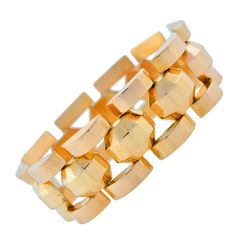 Retro French Gold Faceted Link Bracelet | From a unique collection of vintage retro bracelets at http://www.1stdibs.com/bracelets/retro-bracelets/