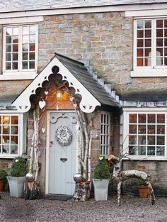 Charming farmhouse with a beautiful entrance porch and front door. If you like this pin, why not head on over to get similar inspiration and join our FREE home design resource library at www.FlorenceAndFreya.com?