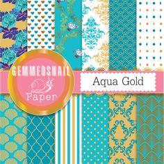 Turquoise digital paper, aqua and gold digital paper 'aqua gold' 12 turquoise and gold papers