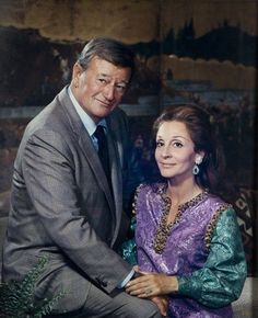 A portrait of John Wayne and his wife Pilar Wayne, taken by Gittings in 1966 Hollywood Actor, Hollywood Stars, Classic Hollywood, Old Hollywood, John Wayne Quotes, John Wayne Movies, John Wayne Wife, Celebrity Portraits, Celebrity Couples