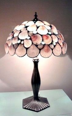 Seashells Table Lamp Stained Glass Pink - Tropical Decor - tropical - table lamps - new york - East Village Artisans Tropical Table Lamps, Tropical Decor, Seashell Art, Seashell Crafts, Stained Glass Lamps, I Love Lamp, Lampshades, Home Design, Design Design