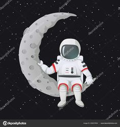 Vector illustration. Astronaut sitting on the crescent moon. Dark space and stars on the background. — Stock Illustration