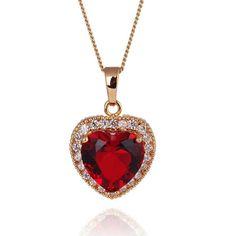 BangGood - KUNIU Kuniu Red Heart Crystal Elegant Women Clavicle Necklace Chain Gift - AdoreWe.com