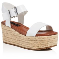 Steven By Steve Madden Sabbie Ankle Strap Espadrille Wedge Sandals ($93) ❤ liked on Polyvore featuring shoes, sandals, white, ankle wrap sandals, summer wedge sandals, white wedge sandals, ankle wrap wedge sandals and platform wedge shoes