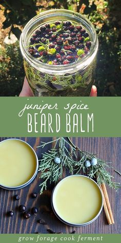 Learn how to make your own juniper spice beard balm! This homemade beard balm recipe is easy to make and uses foraged juniper and dried herbs and spices. Herbal Remedies, Natural Remedies, Cold Remedies, Natural Treatments, Diy Cosmetic, Beard Balm, Homemade Beauty Products, Natural Products, Natural Skin