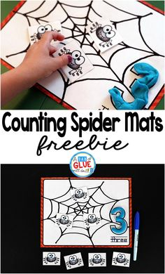 Spider Counting Mats is the perfect free printable to be added to your math centers. This activity is perfect for preschool and kindergarten students.  via @dabofgluewilldo