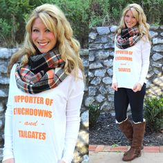 We offer FREE SHIPPING and Easy Returns to make shopping with us easy!!! It's Fall Ya'll infinity Scarf is perfect for Fall and our Proud Supporter of Touchdowns and Tailgates Dolman Top. Get yours at www.southernorangeboutique.com