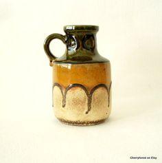 West German vase,Scheurich 414-16,tubed lava decor, Mid Century Modern by Cherryforest on Etsy