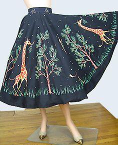 Darling Vintage 50s Giraffe Novelty Print Skirt.#vintage #1950s #fashion #skirts #novelty_print #giraffes