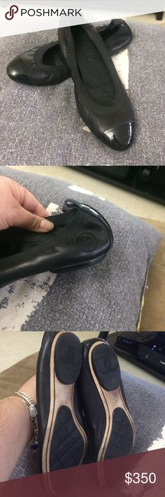 Authentic Chanel flats 39 European Used in good condition. One shoe has scuff on the back ,no box (firm on  price ) CHANEL Shoes Flats & Loafers