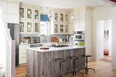 Reclaimed wood cabinets for remodeled kitchen