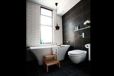 fancy subway tiles, bluestone tiles  From The Block 2012: Dan & Dani's bathroom