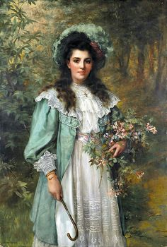 "⊰ Posing with Posies ⊱ paintings of women and flowers - William Clarke Wontner (1857-1930), ""Honeysuckle"""