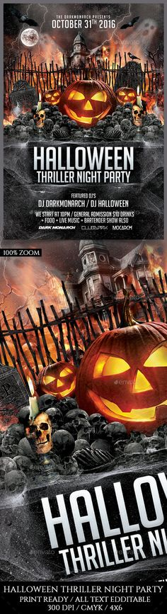 Halloween Thriller Night Party by darkmonarch Halloween Thriller Night Party Flyer Template PSD Super Easy to edit text and Elements Resolution: 300dpi CMYK color Well organize