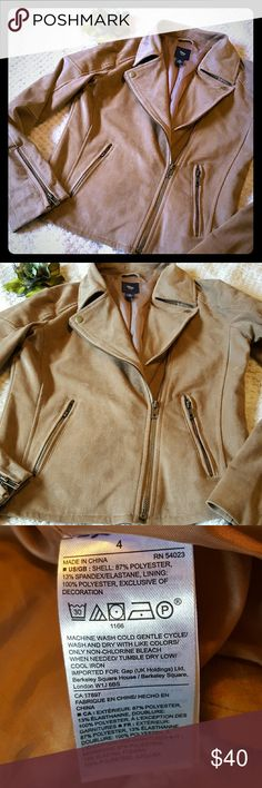 GAP tan jacket Size 4. Zip up. Zippers at cuffs. See photo for material composition. Very good condition! Soft to the touch, suede. GAP Jackets & Coats