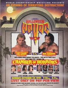 WCW Halloween Havoc 1991 (1991)   http://www.getgrandmovies.top/movies/28085-wcw-halloween-havoc-1991   Halloween Havoc 1991 took place on October 27, 1991 from the UTC Arena in Chattanooga, Tennessee. The main event was Lex Luger defending the WCW World Heavyweight CHampionship in a two out of three falls match against Ron Simmons. Other matches included The Enforcers defending the WCW World Tag Titles against The Patriots, the WCW Halloween Phantom vs Tom Zenk, Brian Pillman vs Richard…