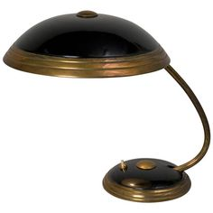 Black Dome Desk Lamp | From a unique collection of antique and modern table lamps at https://www.1stdibs.com/furniture/lighting/table-lamps/