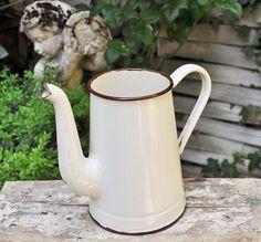 Cream Enamel pot / Vintage French enamelled coffee or tea pot