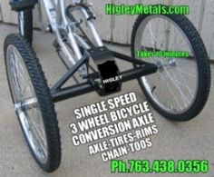 3 Wheel Bicycle Conversion Axle.  Turn your bicycle into a tricycle in 10 minutes using this kit.