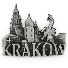 Un imán de nevera de metal panorama Cracovia Wawel. Un imán de nevera de metal con la palabra Cracovia, que representa un monumento del dragón de Wawel sobre el telón de fondo del Castillo Real de Wawel. #renta #imán #imándenevera Renta, Krakow, Stage Backdrops, Cool Gadgets, Monuments, Castles
