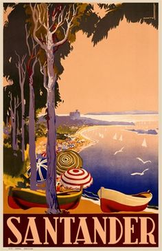 Santander 1900 France - Beautiful Vintage Poster Reproduction. This vertical French travel poster features a tree lined beach full of umbrellas and rowboats with seagulls and sailboats out at sea. Giclee Advertising Print. Classic Posters