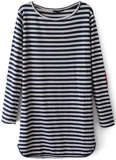 Blue Long Sleeve Striped Straight Dress US$30.32