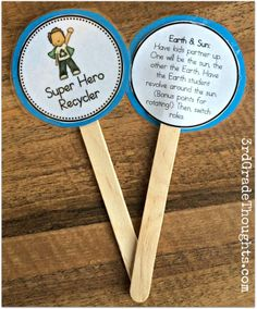 Smart idea! Brain breaks for the classroom. If you want to design some of your own, use two Avery round labels stuck back to back. Just print, peel and stick.