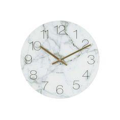 Karlsson Glass Marble Desk Clock - White - Gifts for the Home Marble Desk, Marble Wall, White Marble, Marble Room Decor, Marble Bedroom, Baroque Bedroom, Gold Bedroom, Wall Clock Glass, Gold Wall Clock