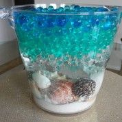 How to Make a Beach Centerpiece using Water Beads... this is EXACTLY what I…