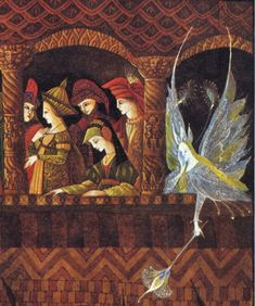 An Illustration by Errol Le Cain from Thorn Rose (or the Sleeping Beauty) by The Brothers Grimm, published in 1975.