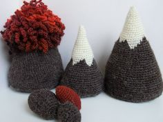 Volcano & Mountain Amigurumi Crochet DEAL Playscape Pattern. PDF Instant Download Toy Play Scene Red Grey White