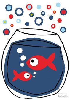 Stickers Enfants Bocal poissons rouges - Lilipinso