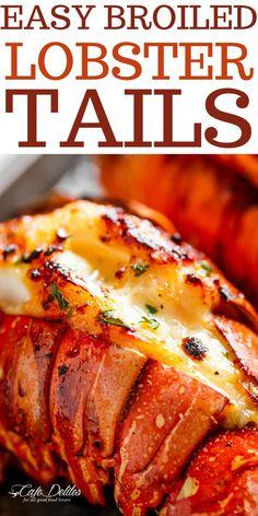 Fish Recipes, Seafood Recipes, Cooking Recipes, Healthy Recipes, Keto Recipes, Broil Lobster Tail, Lobster Tails, Seafood Dinner, Seafood