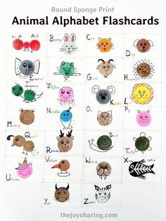Sponge Print Animal Alphabet Flashcards - The Joy of Sharing Preschool Learning Activities, Animal Activities, Preschool Crafts, Animal Crafts For Kids, Easy Crafts For Kids, Writing Prompts For Kids, Kids Writing, Flashcards For Kids, Elephant Crafts