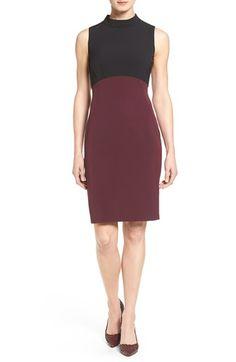 Halogen® Colorblock Mock Neck Sheath Dress (Regular & Petite)