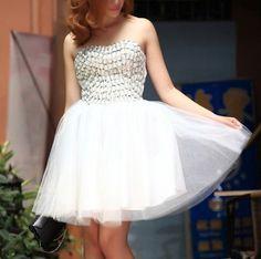 Strapless Prom Dress,White Tulle Prom Dress,Short Homecoming Dress