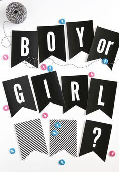 Boy or Girl? Gender Reveal Party Banner  and game printables - free