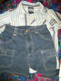 size 4 CARGO SHORTS & PANYC stripe s/s shirt
