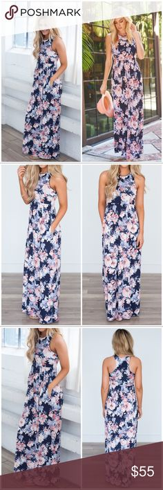 "🆕LISTING! NWT Navy/Pink Floral Maxi Dress NWT Navy/Pink Floral Maxi Dress. Beautiful floral print racerback maxi dress. Hidden pockets and elastic waist. Material is Polyester/spandex blend. Fits true to size, model is wearing a small. Approx Length from shoulder to bottom hem: Small 58.5"", Medium 59"", Large 59.5"". Small (2-4), Medium (6-8), Large (10-12). 🚫No Trades and No Paypal🚫⭐PRICE IS FIRM BUT CAN DISCOUNT IN BUNDLE⭐ Dresses Maxi"