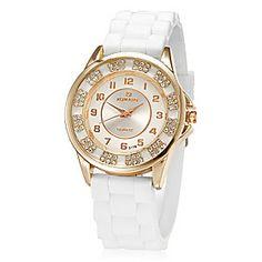Women's White Dial White Silicone Band Analog Quartz Wrist Watch